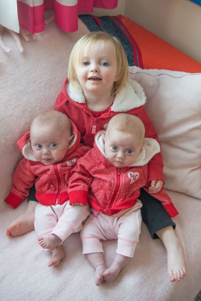 Above left: Alexis on her second day of life. Above right: Beatrix on her fourth day of life. Bottom: Clio on her sisters on Valentines day 2014, a week before I returned to school.